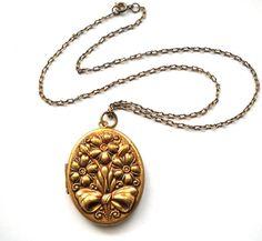 Antique Art Nouveau Floral Repousse Locket Necklace by JoolsForYou