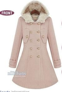 Pink Hodded Double Breasted Girlish Coat with Faux Fur Details