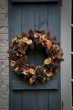 Pinecones and orange slices wreath
