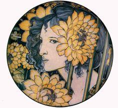 Galileo Chini, Piatto con volto femminile. Arte della Ceramica (1898-1900)