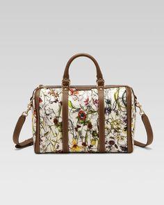 Gucci - Vintage Web Floral Canvas Boston Bag Boston Bag, Vintage Gucci,  Vintage Floral 9fd26da5ef