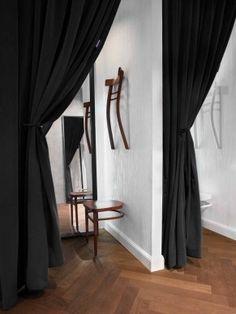 Simple dressing room idea use MDF separator and Ikea curtain track