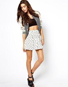 ASOS Skater Skirt in Bird Print