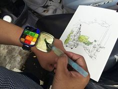 "(via Urban Sketchers Taibpeim a paintbox/palette in a wristband, made from a tin box (approx 2"" x 3"")."