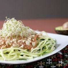 raw pasta with tomato, cashew & avocado creamy sauce