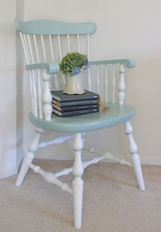 Beautifully upcycled classic pine 1970s dining chair in pale teal and white.
