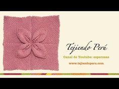 Cuadrado con hoja en relieve tejido en 2 agujas - YouTube