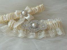 Wedding Garter Set Ivory With Ivory Chantilly Lace And Rhinestone Embellishment.