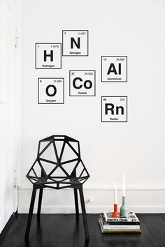 I should incorporate the Man's love of the Periodic Table into my art. Periodic System Wall Sticker ferm LIVING, Geometric Chair One by Konstanian Grcic Wall Stickers, Wall Decals, Wall Art, Ferm Living Wallpaper, Interior And Exterior, Interior Design, Italian Furniture, Design Your Home, Home Decor