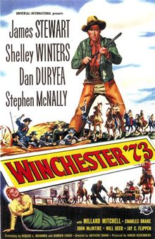 Winchester '73 is a 1950 American Western film directed by Anthony Mann and starring James Stewart, Shelley Winters, and Stephen McNally. Written by Borden Chase and Robert L. Richards, the film is about the journey of a prized rifle from one ill-fated owner to another and a cowboy's search for a murderous fugitive.