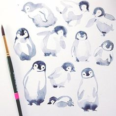 I had done some rough baby penguin sketches earlier and used these to do an assortment of penguins rolling across the page. I used washy watercolors in paynes g... Penguin Sketch, Penguin Drawing, Penguin Art, Penguin Illustration, Penguin Watercolor, Watercolor Animals, Painting & Drawing, Watercolor Paintings, Watercolours