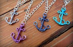 GroopDealz | Hand Wire Wrapped and Hammered Anchor Necklace Wire Wrapped Jewelry, Wire Jewelry, Jewelery, Beaded Jewelry, Wire Crafts, Jewelry Crafts, Jewelry Ideas, Anchor Necklace, Bird Necklace