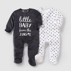 Pijama em veludo (lote de 2) 0 meses-3 anos R essentiel