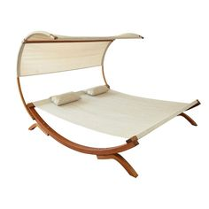 Double Hammock Sunbed Outdoor Lounger Bed Texteline Canopy Pool Furniture Patio  #Unbranded