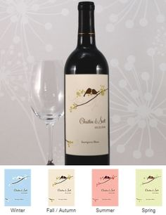 Love Birds Wine Bottle Labels (Set of 8 - 4 Colors) from Wedding Favors Unlimited