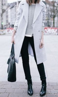 Grey coat, striped tee, black jeans, black boots, and a carry-all bag. So chic. #shopstyle