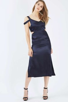 Cold Shoulder Slip Midi Dress