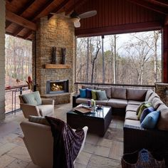 Porch Balcony with Stone Fireplace | Fireplaces and Firepits ...