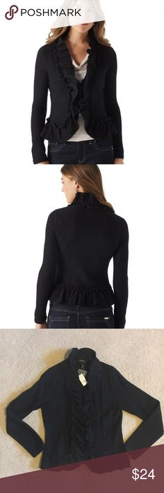 White House Black Market Ruffled Wool Jacket Ruched ruffle outlines this super soft wool jacket from collar to hem. Hook/eye closure in front. White House Black Market Jackets & Coats