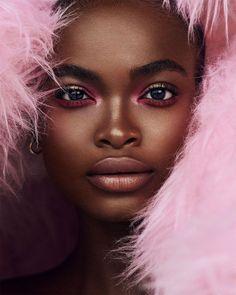 Dark Skin Makeup, Dark Skin Beauty, Hair Beauty, Soft Makeup, Black Beauty, Black Girl Makeup, Pink Makeup, Dark Skin Models, Black Models