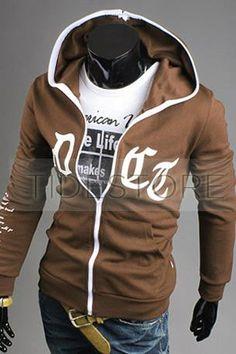 bf35a9c8950 Alphabet Prints Zip Front Mens Hoodie Brown Jacket