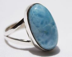 NEW DOMINICAN AA MARBLED OVAL-SHAPE LARIMAR STONE 925 SILVER RING SIZE 8 JEWELRY #DominicanLarimarStone #FashionRing