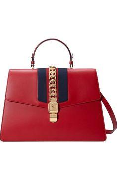 GUCCI Maxi Sylvie Top Handle Leather Shoulder Bag. #gucci #bags #shoulder bags #hand bags #suede #lining #