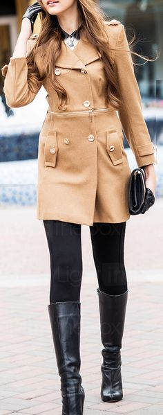 Camel coat women fashion autumn clothes outfit style long black boots purse street