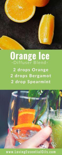FREE GUIDE: 150 Essential Oil Diffuser Recipes You Will Love - Orange Ice Diffuser Blend with orange, bergamot, spearmint essential oils, happy diffusing! #diffuserguide #diffusingoils #diffuserblends