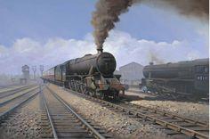 Black by Richard Picton Locomotive Engine, Steam Locomotive, Steam Art, Public Transport, Transport Posters, Railroad History, Abandoned Train, Steam Railway, Train Art