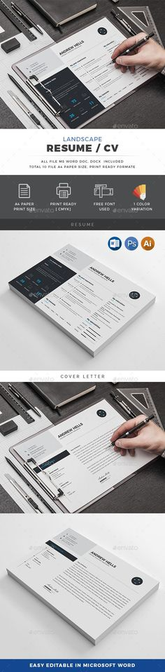 Landscape #Resume - Resumes Stationery Download here:  https://graphicriver.net/item/landscape-resume/20041614?ref=alena994