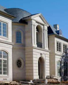 Exterior Rotunda View In Construction Phase Of A Louis XV French Classical House Highland Park