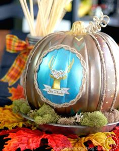 Painted Thanksgiving Pumpkin with Gold Deer Silhouette - perfect centerpiece for the Thanksgiving table
