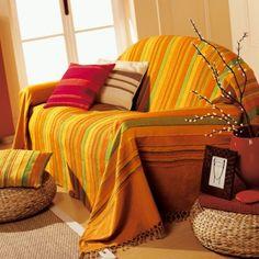Un jeté de canapé pour donner de la couleur à votre salon !  #Blancheporte