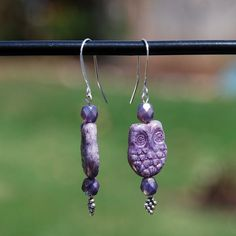 Handmade Sterling Silver earrings purple by KarmaKittyJewelry