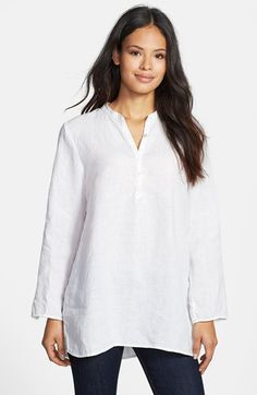 Eileen Fisher Band Collar Organic Linen Tunic (Regular & Petite) available at #Nordstrom