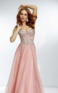 Embellished Chiffon Floor Pink A-Line Natural Prom Dresses Sale kaladress13617