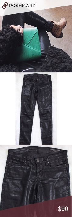 All Saints • Black Coated Jeans All Saints coated shimmery skinny jeans with zip ankles. Barely worn, no flaws! Size 27 but fit like a 26, they're jeans run small, fits me perfectly and I'm a true 26/2. Tag says 27 but listed as 26.   •Hips: 30 •Rise: 8 •Inseam: 28 •76% Cotton 21% Polyester 3% Elastane  ❌No trades ❌Poshmark Transactions Only ❌No asking for the lowest price All Saints Jeans Skinny