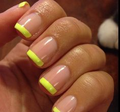 French manicure with yellow tip