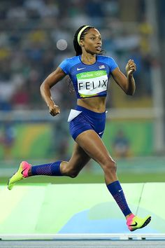 Allyson Felix of the United States competes in the Women's 400 meter semifinal…