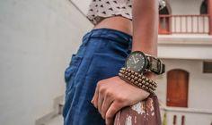 Balance out tiny waist lines with big wrist straps