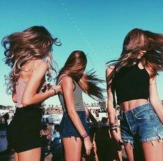 adventure, alternative, amazing, beach, blue, girls, hair, jeans, sky, three, tres, vibe, feels, people , sun , sunny day , i love summer , we love summer