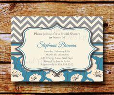 Bridal Shower Invitation - Wedding Shower Invitation - Chevron Floral Invitation -Printable - Brennan