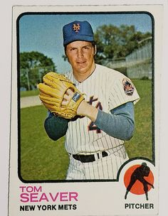1973 Topps Tom Seaver (HOF) New York Mets Pitcher - Great for Collectors! Baseball Card Shop, Baseball Card Boxes, Baseball Card Values, Baseball Cards For Sale, Basketball Cards, My Mets, Famous Baseball Players, Cy Young Award, Lets Go Mets