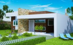 "Casa "" Fortaleza"" - fachada moderna com 3 quartos e suíte - Plantas de Casas Bungalow Haus Design, Modern Bungalow House, Modern Mansion, Modern House Plans, Small House Plans, House Design, House On The Rock, My House, Independent House"