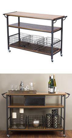 Keep everything close with this Clint Wood & Metal Kitchen Cart. Three rows of shelving and three metal baskets allow for optimal storage while its wheels make it highly mobile. Made from metal with an. Find the Clint Wood & Metal Kitchen Cart, as seen Kitchen Decor, Kitchen Design, Kitchen Wood, Kitchen Island, Kitchen Trolley, Metal Industrial, Industrial Style, Interior Exterior, Home Interior Design