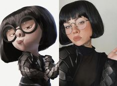 Edna Mode cosplay by Mode Halloween, Looks Halloween, Halloween Inspo, Cute Halloween Costumes, Couple Halloween, Halloween Cosplay, Disney Halloween Makeup, Disney Makeup, Celebrity Halloween Costumes