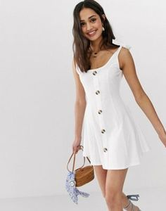 Find the best selection of ASOS DESIGN mini button through slub sundress with tie shoulders. Shop today with free delivery and returns (Ts&Cs apply) with ASOS! Asos, Summer Outfits, Cute Outfits, Summer Dresses, Mini Skater Dress, Little White Dresses, Mode Online, Latest Dress, The Dress
