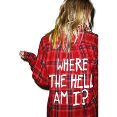 Jac Vanek Where The Hell Am I Vintage Flannel ($60) ❤ liked on Polyvore featuring tops, flannels, button front tops, red long sleeve top, long sleeve tops, flannel tops and red top