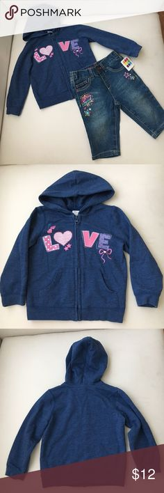 🎀Lot of 2🎀Little Girls Hoodie Jacket + Jeans 🎀Lot of 2🎀Little Girls Hoodie Jacket + Jeans.  Jacket is in excellent condition. The jeans are brand new with tags. Brands are from Children's Place and Healthtex. Size 2T (Hoodie) and 24 mos (jeans). Children's Place Shirts & Tops Sweatshirts & Hoodies